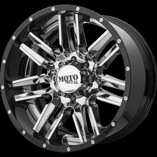 Moto Metal Rims MO202 CHROME CENTER GLOSS BLACK MILLED LIP
