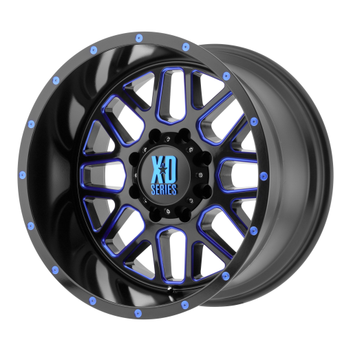XD Series Rims XD820 GRENADE SATIN BLACK MILLED WITH BLUE CLEAR COAT