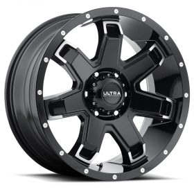 209BK BENT 7 GLOSS BLACK WITH DIAMOND CUT SPOKE ENDS AND SPOT-MILLED LIP DIMPLES