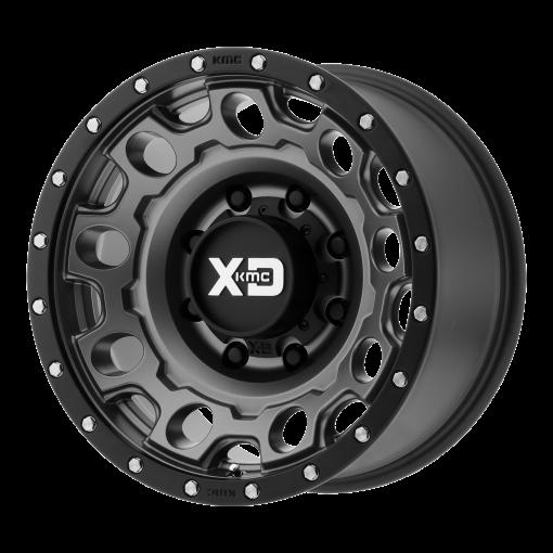 XD Series Rims XD129 HOLESHOT MATTE GRAY W BLACK REINFORCING RING